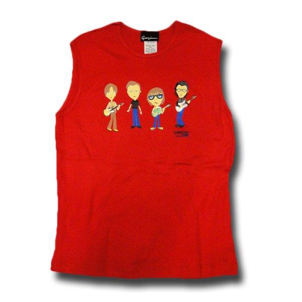 画像1: Weezer ウィーザー Band Cartoon Sleeveless Tシャツ (GMサイズ)<セール特価商品> (1)