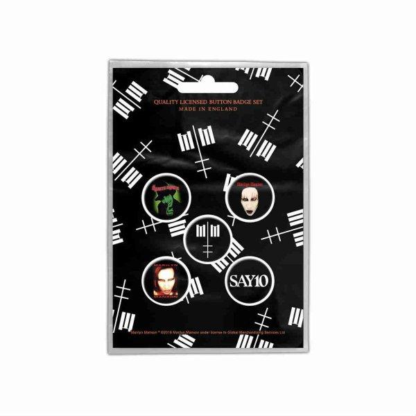 画像1: Marilyn Manson バッジ5個セット マリリン・マンソン Cross Logo (1)