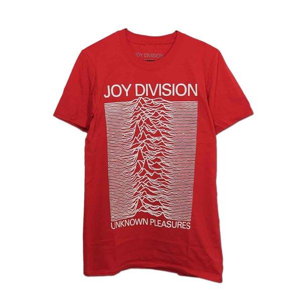 画像1: Joy Division バンドTシャツ ジョイ・ディヴィジョン Unknown Pleasures WHT On RED (1)